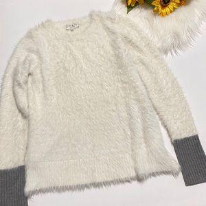 Feel the Piece White Fuzzy Sweater Grey Wool Cuffs